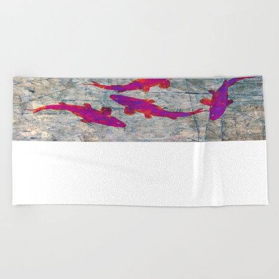 Koi Carps WW Beach Towel