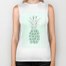 Floral Pineapple Stripes Mint Biker Tank