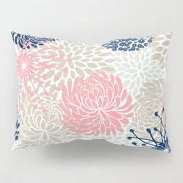 Floral Mixed Blooms, Blush Pink, Navy Blue, Gray, Beige Pillow Sham