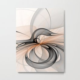 Abstract Anthracite Gray Sienna Shapes Fractal Art Metal Print