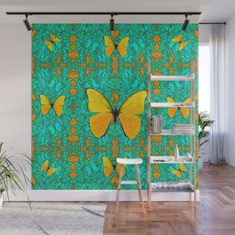 YELLOW BUTTERFLIES ON TURQUOISE GREEN PATTERNS Wall Mural