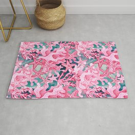 Pink Starfish and coral watercolor reef Rug