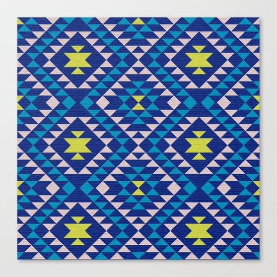 Tribal geometric pattern - blue Canvas Print