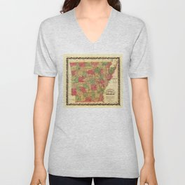 Langtree's new sectional map of the state of Arkansas (1866) Unisex V-Neck