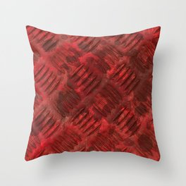 Industrial Red Metal Throw Pillow