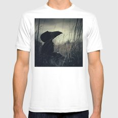 Thoughtful Plague MEDIUM White Mens Fitted Tee