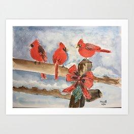 Three Cardinals - watercolor Art Print