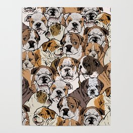 Social English Bulldog Poster