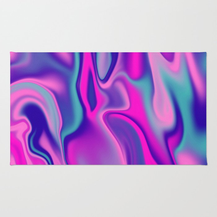 Liquid Bold Vibrant Colorful Abstract Paint in Blue, Pink and Purple Rug