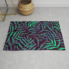 Watercolor Tropical Palm Leaves VII Rug