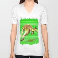 kangaroo V-neck T-shirts featuring Kangaroo by wingnang