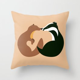 The Pine Marten and the Badger Throw Pillow