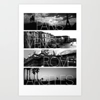 cityscape Art Prints featuring CITYSCAPE by Grafikki Shop