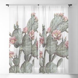 Prickly Pear Cactus Painting Sheer Curtain