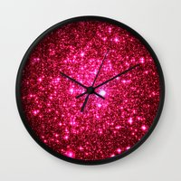 glitter Wall Clocks featuring Hot Pink Glitter Stars by 2sweet4words Designs