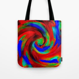 Red Blue Green Fireball Sky Explosion Tote Bag