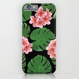 Tropical Floral Print Black iPhone Case