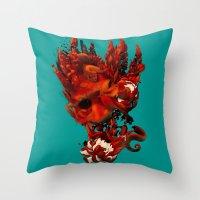 karma Throw Pillows featuring Karma by angrymonk