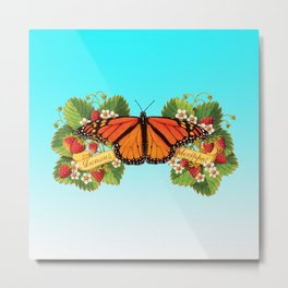 Monarch Butterfly with Strawberries on Aqua Metal Print
