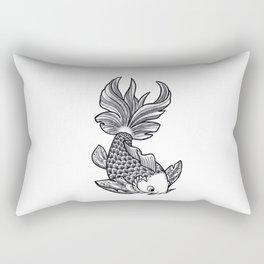 Fish handmade Drawing, Made in pencil, charcoal and ink, Tattoo Sketch, Tattoo Flash, Carp Koi Rectangular Pillow