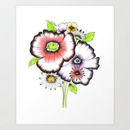 neon bouquet Art Print