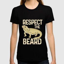 Respect The Beard - Funny Bearded Dragon Lizard Pet Illustration T-shirt