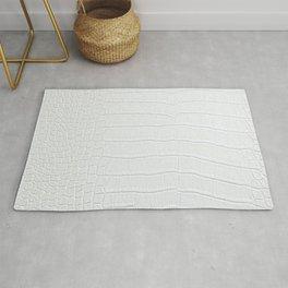 Realistic White Crocodile Skin Print Rug
