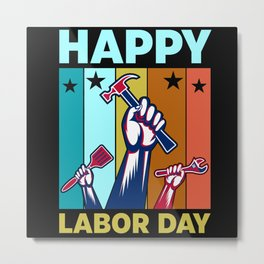 Happy labor day retro sunset hands with tools Metal Print