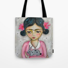 Frida Kahlo and bunny Tote Bag