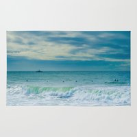 portugal Area & Throw Rugs featuring Carcavelos, Portugal, sea, surf by Sébastien BOUVIER