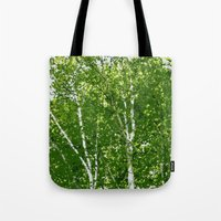 birch Tote Bags featuring Birch Trees by Tru Images Photo Art