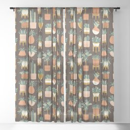 Cacti & Succulents Sheer Curtain