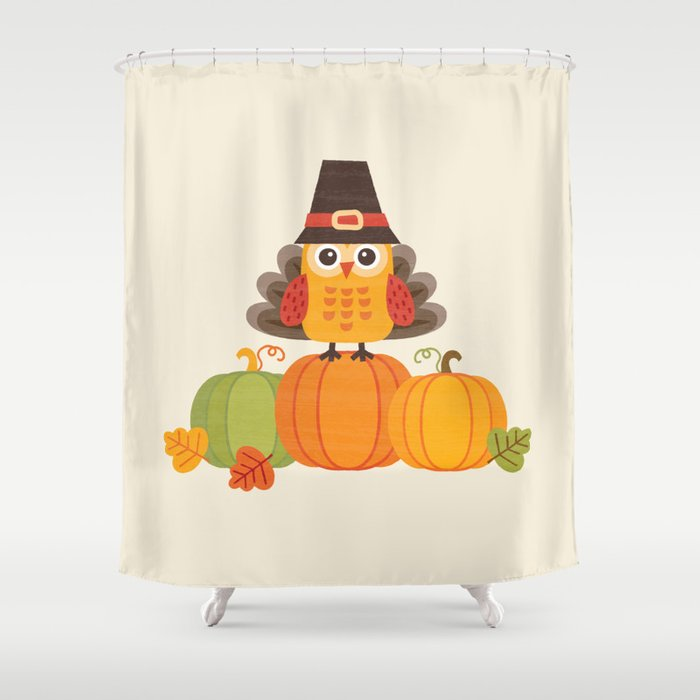 THANKSGIVING OWL IN TURKEY COSTUME ON PUMPKINS shower curtain by Daisy Beatrice