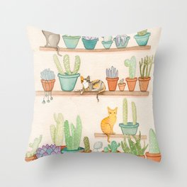Cats in the Cactus Room Throw Pillow