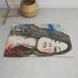 untitled #91020 | zentangle japanese woman portrait Rug