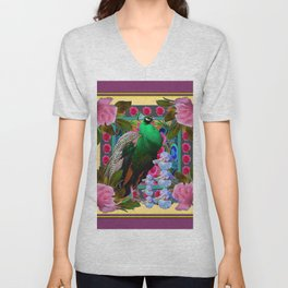 YELLOW-PUCE  PURPLE & PINK ROSES GREEN PEACOCK FLORAL Unisex V-Neck