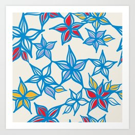 Winter Stars Pattern Art Print