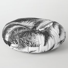 Palm Trees in Noir Entwining in a Tropical Breeze Floor Pillow