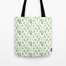 Green cacti on white Tote Bag