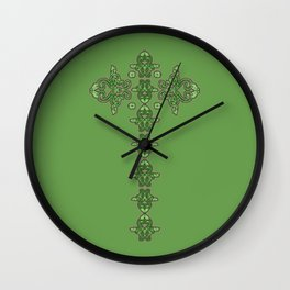 'Green Faith' - Cross of lace in green Wall Clock