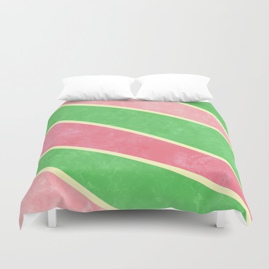 Pink and Green Diagonal Stripes Duvet Cover