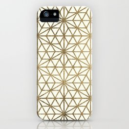 Modern geometric gold stars pattern on ivory iPhone Case