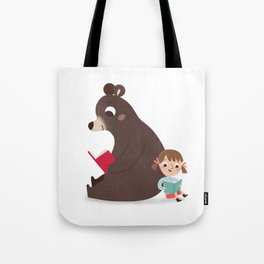 Reading with Bear Tote Bag