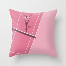 Pink Tennis Court  Throw Pillow