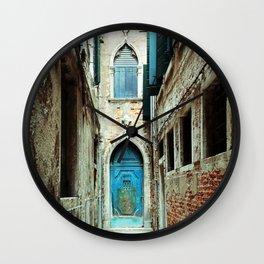 Venice Italy Turquoise Blue Door Wall Clock