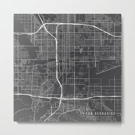 San Bernardino Map, USA - Gray Metal Print