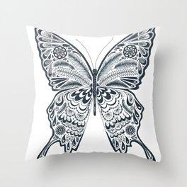 Blue Butterfly Mandala Throw Pillow