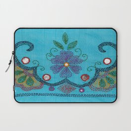 Kantha Fabric Art On Turquoise Pure Silk Laptop Sleeve