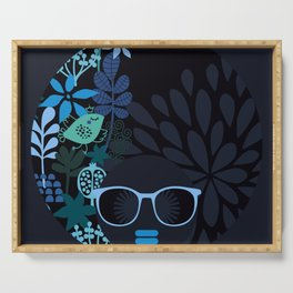 Afro Diva : Sophisticated Lady Teal Serving Tray