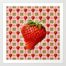Vintage Strawberry Pattern Art Print